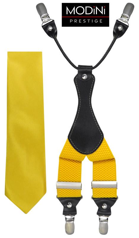 żółty zestaw - szelki i krawat